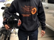 Black and Orange Wheel with Wings Hoodie